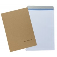 """C4 / A4 White Peel & Seal Paper Envelopes With Stiffeners - 324mm x 229mm (12.75"""" x 9"""")"""