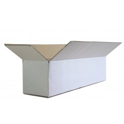 "FOLSW1844w - White Boxes (450mm x 101mm x 101mm) 18"" x 4"" x 4"" Fully Overlapping Corrugated Cartons - FEFCO Style 0203"