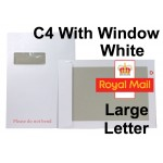 "C4 / A4 WHITE WINDOWED Board Backed Envelopes (324mm x 229mm 12.75"" x 9"" appx)"
