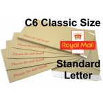 "C6 / A6 CLASSIC Board Backed Envelopes (162mm x 114mm 6.37"" x 4.48"" appx)"