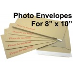 "Photograph Size Board Backed Envelopes (267mm x 216mm 10.5"" x 8.5"" appx)"