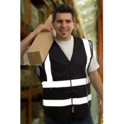 1 x Black High Visibility Vests / Waistcoats