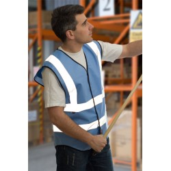 1 x Sky Blue High Visibility Vests / Waistcoats