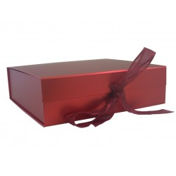 Keepsake Size Metallic Red Magnetic Seal Gift Boxes - (300mm x 300mm x 90mm)