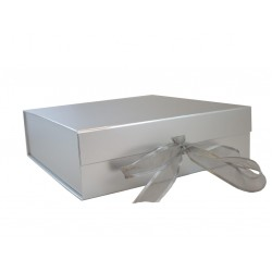 Standard Size Silver Magnetic Seal Gift Boxes - (209mm x 220mm x 60mm)